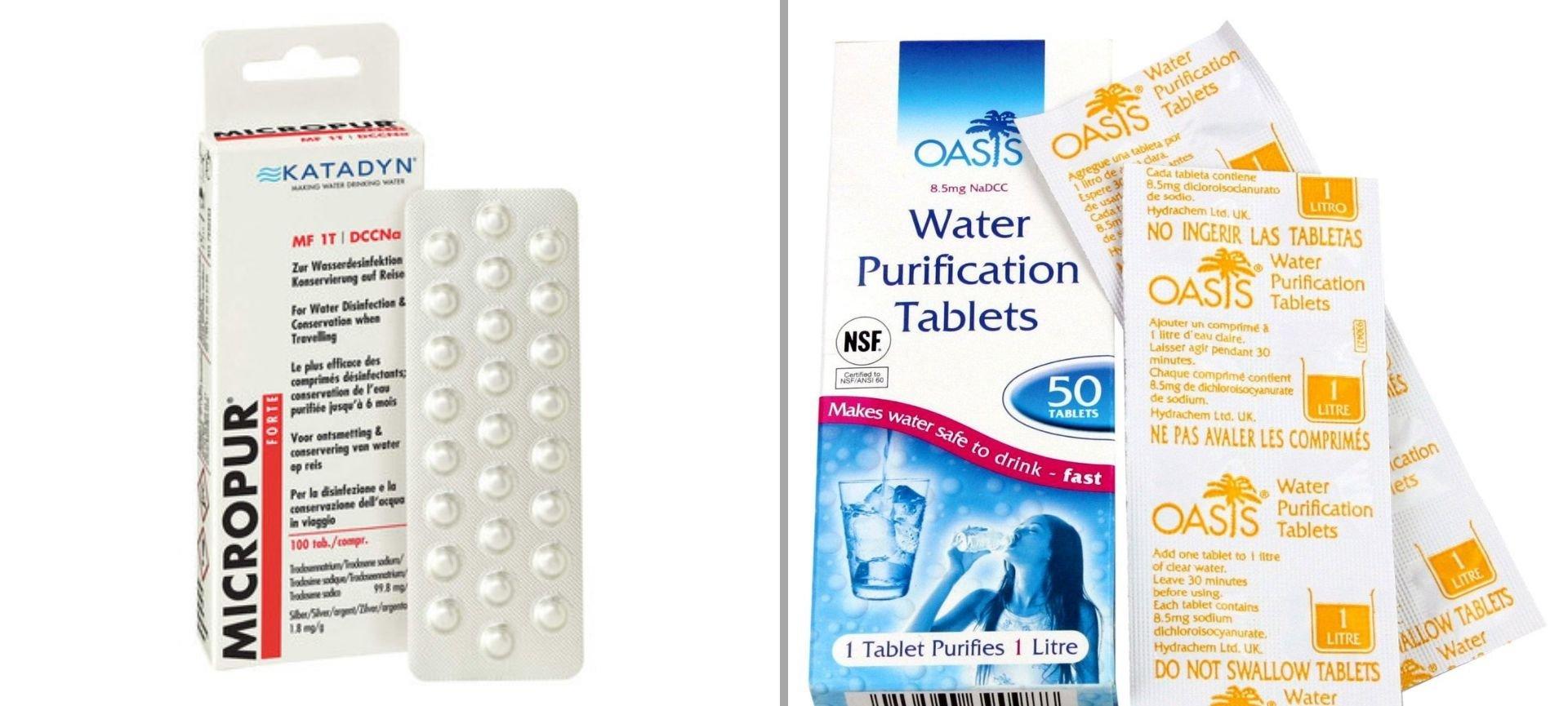 pastiglie potabilizzare acqua