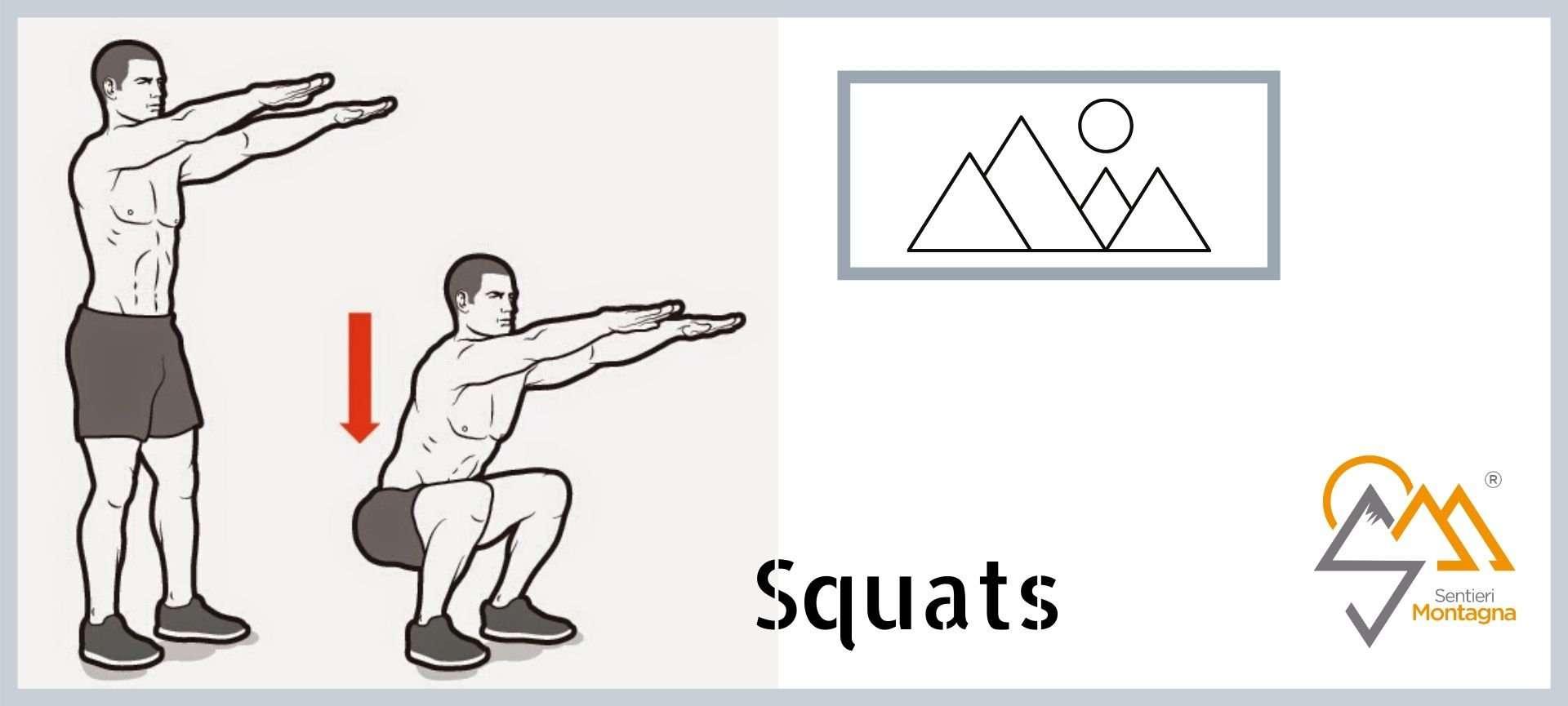 allenamento trekking in casa: squats